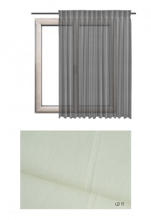 Zasłona transparentna na haczykach microfleks w ozdobnej tkaninie o odcieniu ecru (LD11) na wymiar.