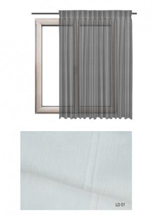 Zasłona transparentna na haczykach microfleks w ozdobnej tkaninie o białym odcieniu (LD10) na wymiar.
