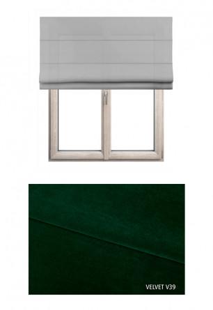 Roleta rzymska zaciemniająca o zielonym odcieniu kolorystycznym (V39) w kolekcji VELVET na wymiar.