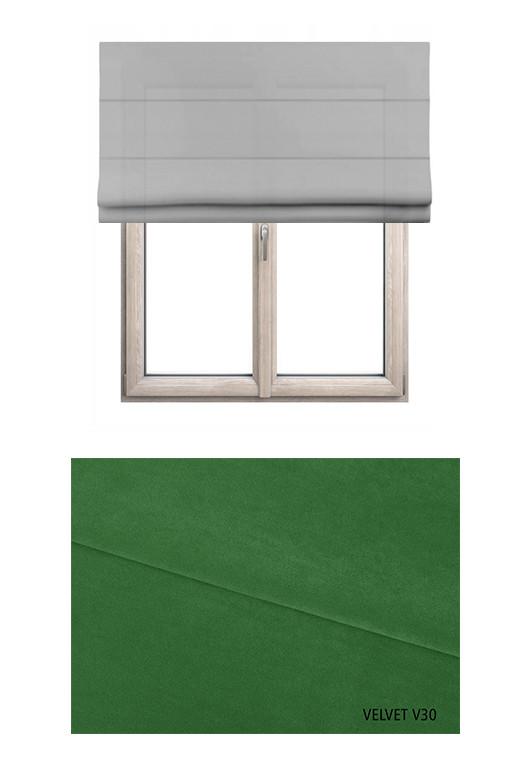 Roleta rzymska zaciemniająca o zielonym odcieniu kolorystycznym (V30) w kolekcji VELVET na wymiar.