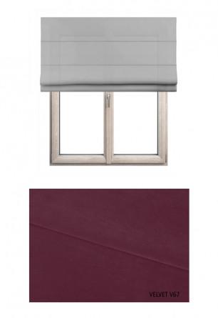 Roleta rzymska zaciemniająca o fioletowym odcieniu kolorystycznym (V67) w kolekcji VELVET na wymiar.