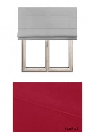 Roleta rzymska zaciemniająca o czerwonym odcieniu kolorystycznym (V43) w kolekcji VELVET na wymiar.