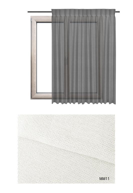 Zasłona na haczykach microfleks w półprzeziernej tkaninie o białym odcieniu (MM11) z kolekcji MIESZKANIE MARZEŃ na wymiar