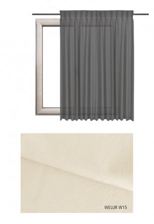 Zasłona na haczykach microfleks w tkaninie o odcieniu ecru (W15) z kolekcji WELUR na wymiar.