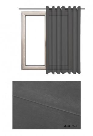 Zasłona na kołach w tkaninie o szarym odcieniu (V93) z kolekcji VELVET na wymiar.