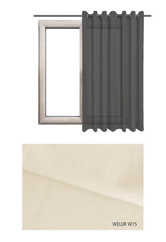 Zasłona na kołach w tkaninie o odcieniu ecru (W15) z kolekcji WELUR na wymiar.