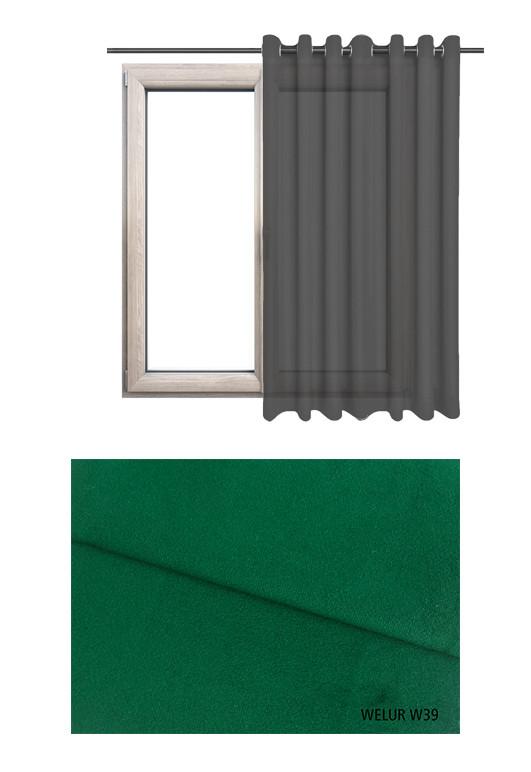 Zasłona na kołach w tkaninie o zielonym odcieniu (W39) z kolekcji WELUR na wymiar.