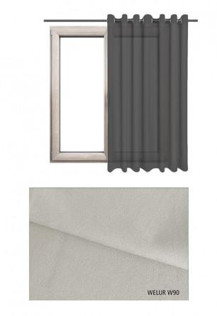 Zasłona na kołach w tkaninie o szarym odcieniu (W90) z kolekcji WELUR na wymiar.