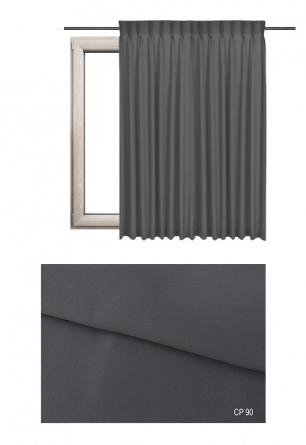 Zasłona na haczykach microfleks w pełni zaciemniającej tkaninie (90-100%) w szarym odcieniu (CP90) na wymiar.
