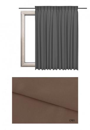 Zasłona na haczykach microfleks w pełni zaciemniającej tkaninie (90-100%) w brązowym odcieniu (CP81) na wymiar.