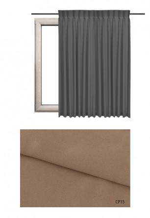 Zasłona na haczykach microfleks w pełni zaciemniającej tkaninie (90-100%) w brązowym odcieniu (CP15) na wymiar.