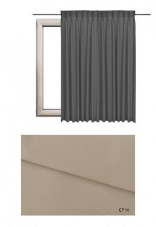 Zasłona na haczykach microfleks w pełni zaciemniającej tkaninie (90-100%) w beżowym odcieniu (CP14) na wymiar.