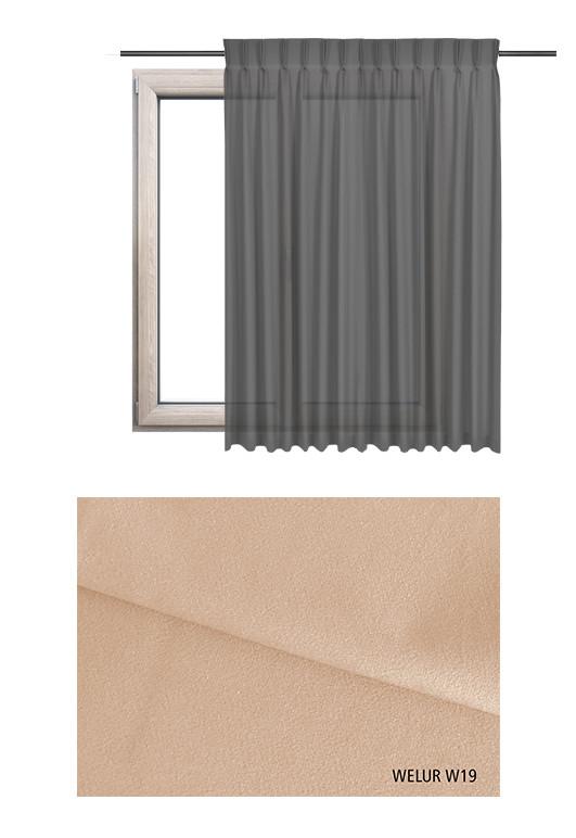 Zasłona na haczykach microfleks w tkaninie o odcieniu beżowym (W19) z kolekcji WELUR na wymiar.
