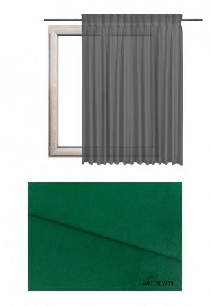 Zasłona na haczykach microfleks w tkaninie o zielonym odcieniu (W39) z kolekcji WELUR na wymiar.