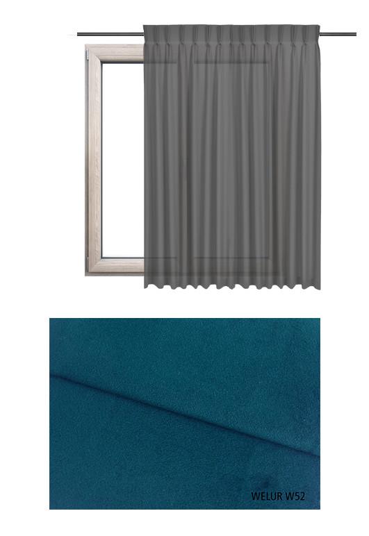 Zasłona na haczykach microfleks w tkaninie o granatowym odcieniu (W52) z kolekcji WELUR na wymiar.