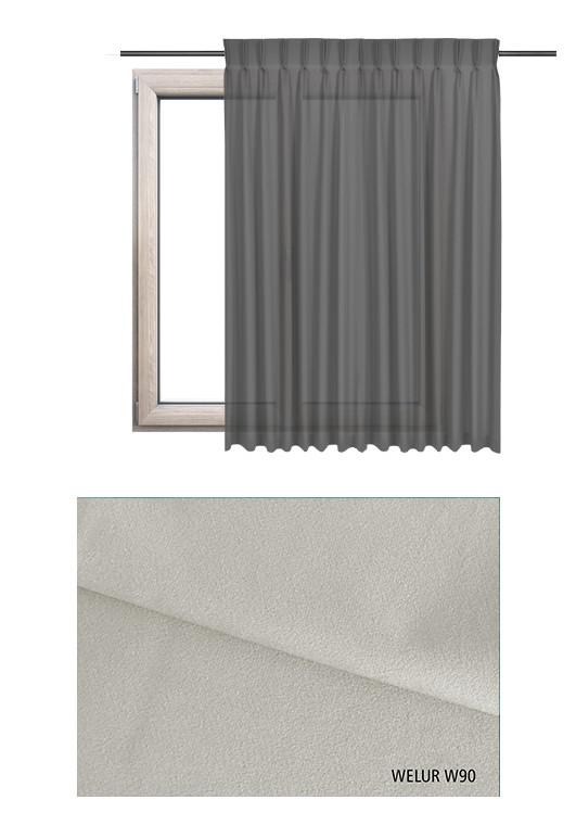 Zasłona na haczykach microfleks w tkaninie o szarym odcieniu (W90) z kolekcji WELUR na wymiar.