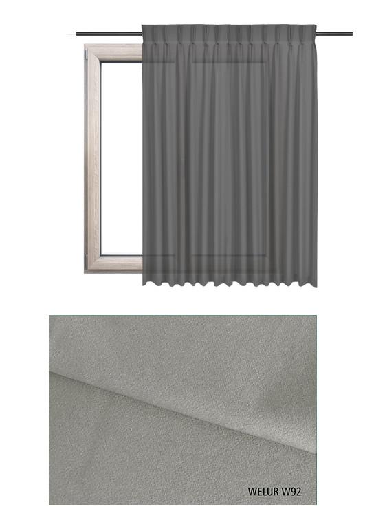 Zasłona na haczykach microfleks w tkaninie o szarym odcieniu (W92) z kolekcji WELUR na wymiar.