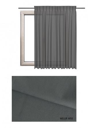 Zasłona na haczykach microfleks w tkaninie o szarym odcieniu (W93) z kolekcji WELUR na wymiar.