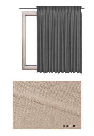Zasłona na haczykach microfleks w tkaninie o odcieniu beżowym (D17) z kolekcji DIMOUT na wymiar.