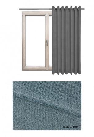 Zasłona typu blackout na kołach w tkaninie o odcieniu niebieskim (D50) z kolekcji DIMOUT na wymiar.