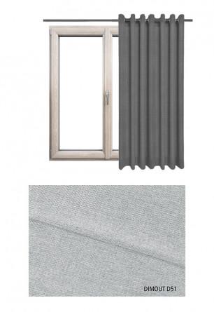 Zasłona typu blackout na kołach w tkaninie o odcieniu szarym (D51) z kolekcji DIMOUT na wymiar.
