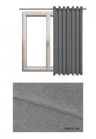 Zasłona typu blackout na kołach w tkaninie o odcieniu szarym (D94) z kolekcji DIMOUT na wymiar.
