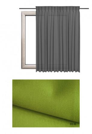 Zasłona na haczykach microfleks w gładkiej lekko błyszczącej tkaninie o zielonym odcieniu kolorystycznym (ED35) na wymiar.