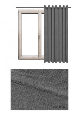 Zasłona typu blackout na kołach w tkaninie o odcieniu szarym (D96) z kolekcji DIMOUT na wymiar.