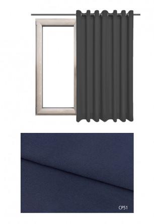 Zasłona na kołach 100% zaciemniająca w niebieskim odcieniu (CP51) z kolekcji CICHA PRZYSTAŃ na wymiar