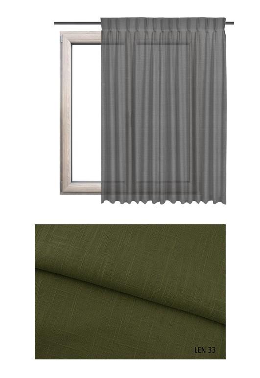 Zasłona na haczykach microfleks w tkaninie o zielonym odcieniu LEN 33 na wymiar.
