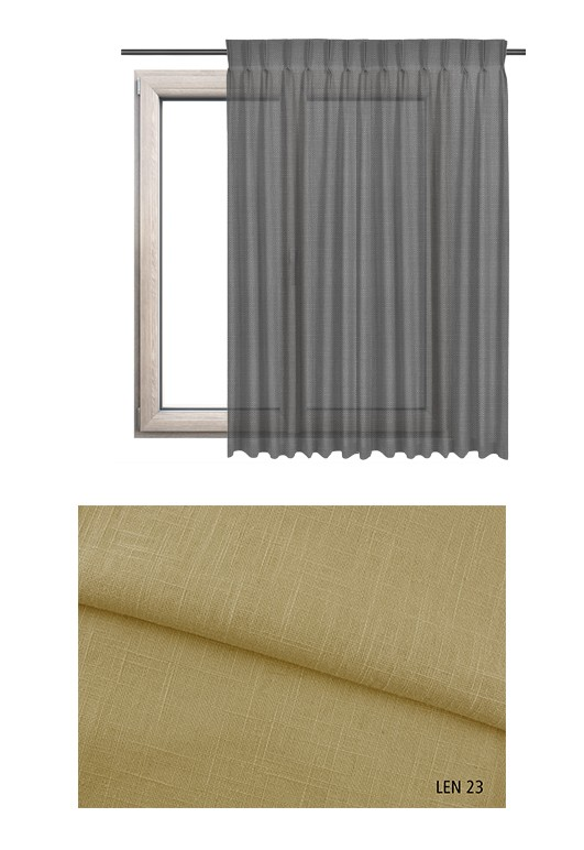Zasłona na haczykach microfleks w tkaninie o jasno żółtym odcieniu LEN 23 na wymiar.