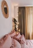 Bawełniany komplet pościeli w pudrowym różu z falbaną 160x200 200x220