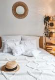 Biała bawełniana pościeli zamykana na zakładkę z troczkami 160x200 200x220 - Nasze Domowe Pielsze