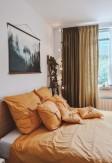 Bawełniana pościeli z troczkami w miodowym kolorze 160x200 lub 200x220 - Nasze Domowe Pielesze