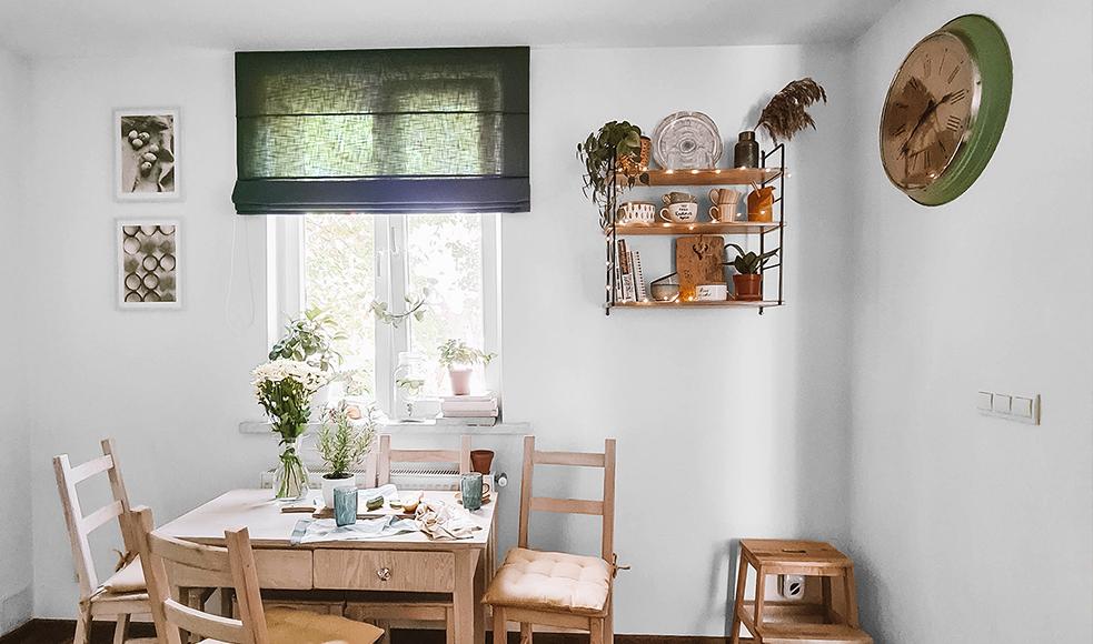 zielona roleta rzymska boho kuchnia nasze domowe pielesze