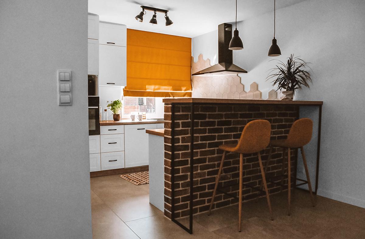 roleta rzymska musztardowa w kuchni
