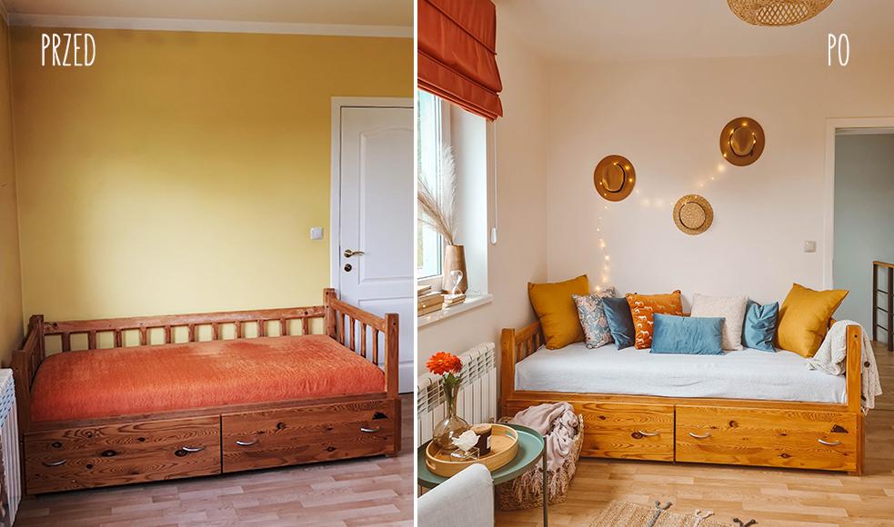 łóżko metamorfoza poduszki poszewki nasze domowe pielesze
