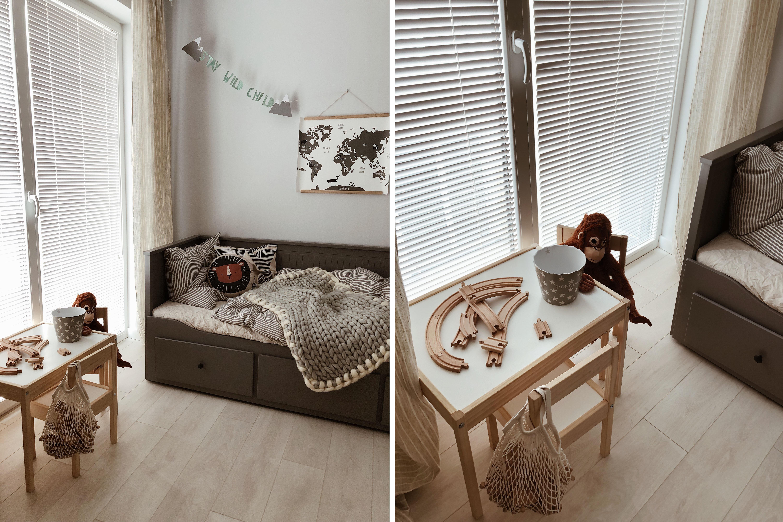 białe żaluzje drewniane pokój dziecka