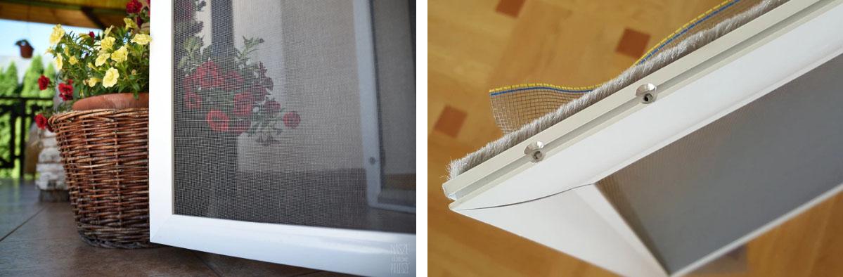 Niewidoczny narożnik wewnętrzny umieszczony w profilu aluminiowym moskitiery drzwiowej.