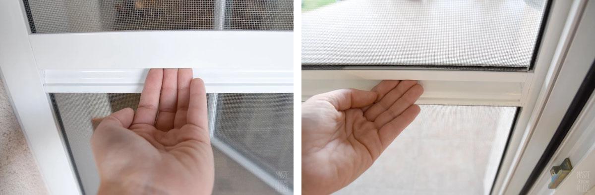 Poprzeczka stablizująca z wbudowanym uchwytem moskitiery drzwiowej.