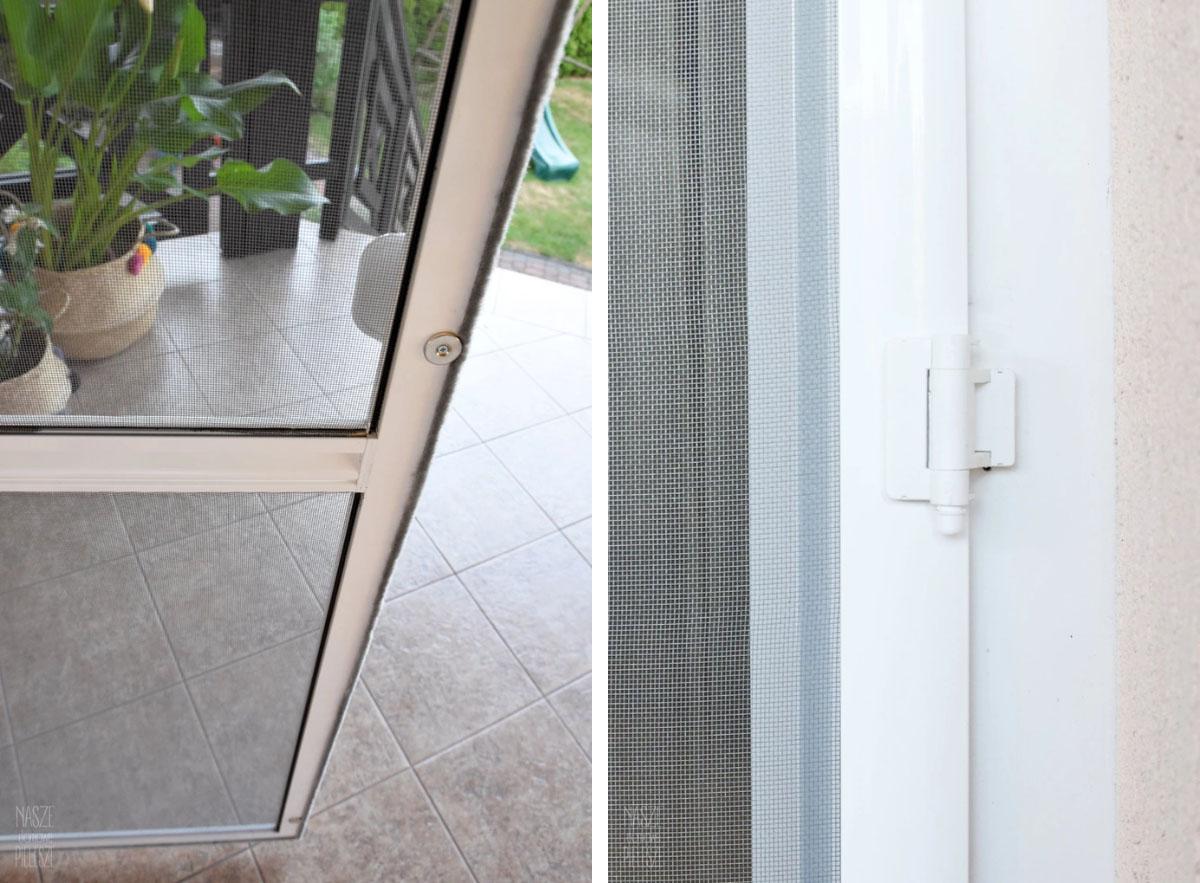 Elementy dodatkowe zapewniające konfort użytkowania, funkcjonalność i trwałość drzwi moskitierowych: uszczelka szczotkowa, magnes wewnętrzny, zawiasy samodomykajace.
