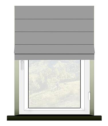 Schemat prawidłowego pomiaru rolety rzymskiej mocowanej inwazyjnie na ramie okiennej.