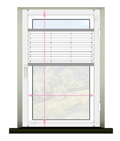 Schemat prawidłowego pomiaru rolety plisowanej (plisy) montaż bezinwazyjny.