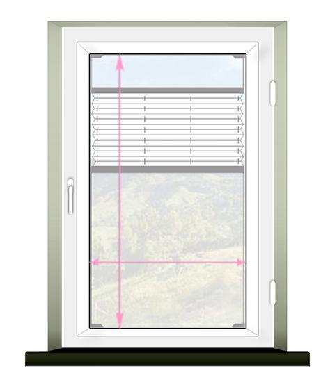 Schemat prawidłowego pomiaru rolety plisowanej (plisy) montaż inwazyjny.